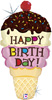 Ice Cream Cone Birthday Shape Foil Balloons