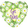 Get Well Green Stripes Daisies Foil Balloon