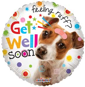 Get Well Dog Foil Balloons