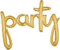 'party' Gold Script Balloon