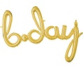 'bday' Gold Script Balloon