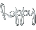 'happy' Silver Script Balloon