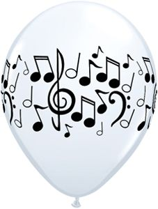 Music Notes White Balloons