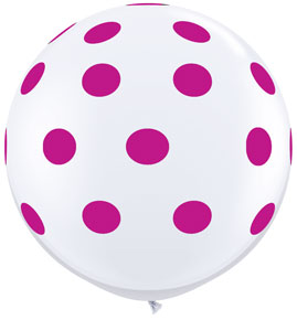 Big Wild Berry Polka Dots on White (36 inch)
