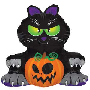 Big Black Cat Halloween Balloon