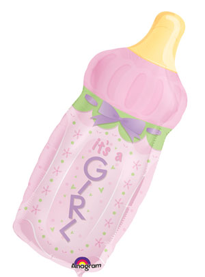 It's A Girl Baby Bottle Shape Foil Balloons