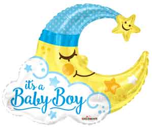 Baby Boy Moon Shape Foil Balloons