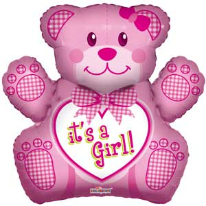 Baby Girl Bear Shape Foil Balloons