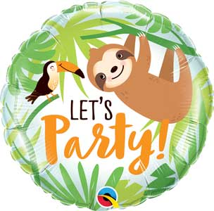 Let's Party Toucan & Sloth Foil Balloons