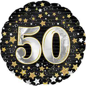 Birthday Gold Stars 50 Foil Balloons