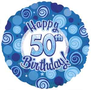 Dazzeloon Blue 50th Birthday Foil Balloons