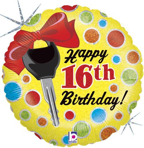 16th Birthday Car Key Foil Balloons