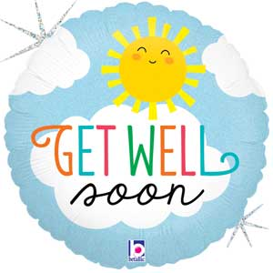 Get Well Soon Sun Foil Balloons