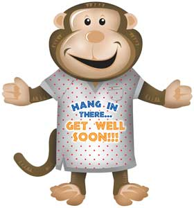 get well monkey foil shape