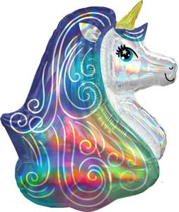 Iridescent Unicorn Balloon Shape