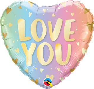Love You Pastel Ombre Foil Balloons