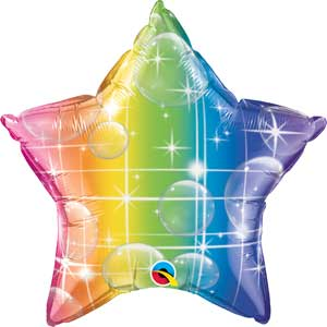 Rainbow Stripes Star Foil Balloons