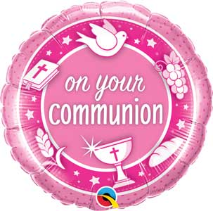 On Your Communion Pink Foil Balloons