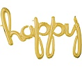 'happy' Gold Script Balloon