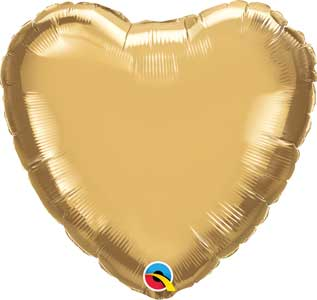 18 inch Chrome Gold Hearts