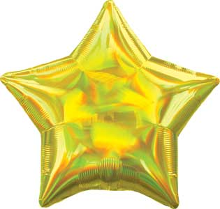 19 inch Yellow Iridescent Star Foil Balloons