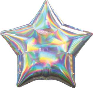 19 inch Silver Iridescent Star Foil Balloons