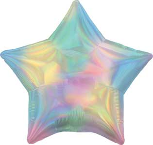 19 inch Rainbow Pastel Iridescent Star Foil Balloons