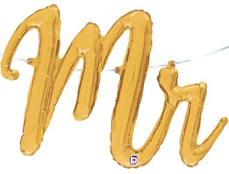 'Mr' Gold Script Balloon