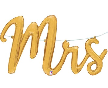'Mrs' Gold Script Balloon