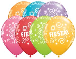 Fiesta Swirls Latex Balloons