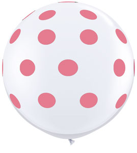 Big Rose Polka Dots on White (36 inch)