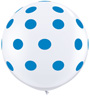 Big Standard Dark Blue Polka Dots on White
