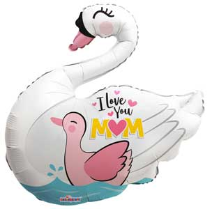 I Love You Mom Swan Shape