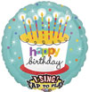 Singing Birthday Cake & Candles Foil Balloons